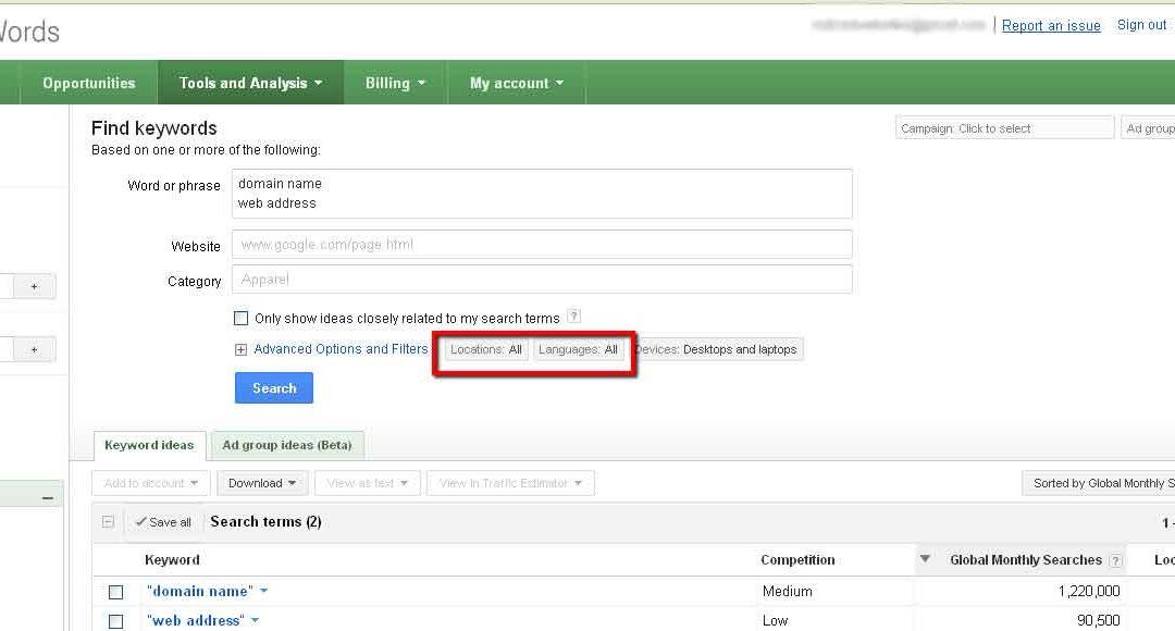 NoticedWebsites in Richmond: Google Adwords Keyword Tool