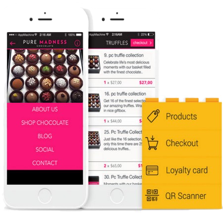 Mad Chocolate Mobile App Home Screen | Noticedwebsites