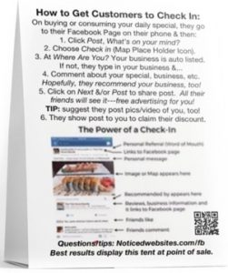 Facebook Check In marketing table tent, back view