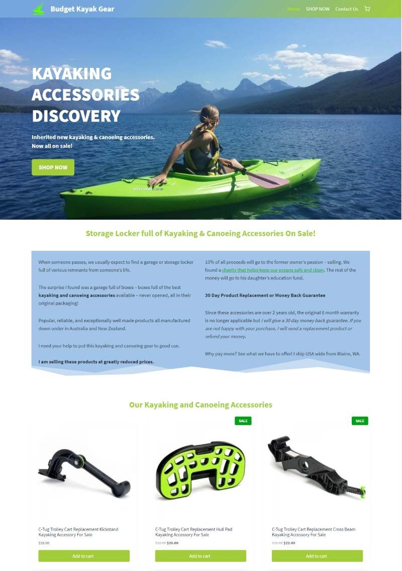 BudgetKayakGear home page